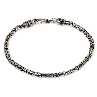 Borobudur Tradition 925 Sterling Silver with Hook Clasp Balinese Byzantine Style Snake Chain 7.3 Inch Bracelet (Indonesia)