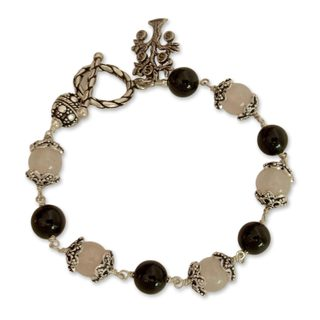 Sterling Silver 'Lucky Money Tree' Rose Quartz Onyx Bracelet (India)