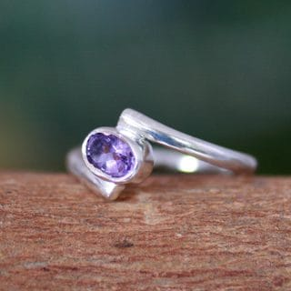 Sterling Silver 'Lavender Spin' Amethyst Ring (India)