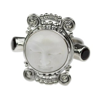 Handcrafted Silver Cow Bone 'Moon Dream' Garnet Ring (Indonesia)