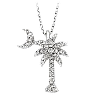 14k White Gold 1/5ct TDW Diamond Palm Tree Pendant (G-H, I2-I3)