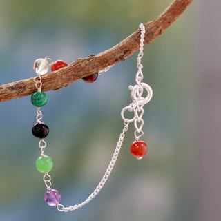 Sterling Silver 'Peace and Harmony' Multi-gemstone Bracelet (India)