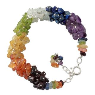 Handcrafted Sterling Silver 'Tropical' Multi-gemstone Bracelet (India)