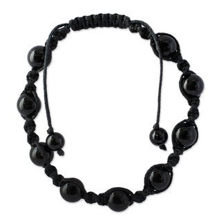 Handcrafted 'Blissful Protection' Onyx Shamballa Bracelet (India)