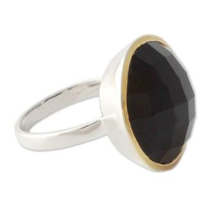 Handcrafted Gold Accented 'Mystical Allure' Onyx Ring (India)