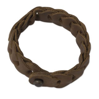 Handcrafted Leather 'Hooked on Honey' Bracelet (Mexico)