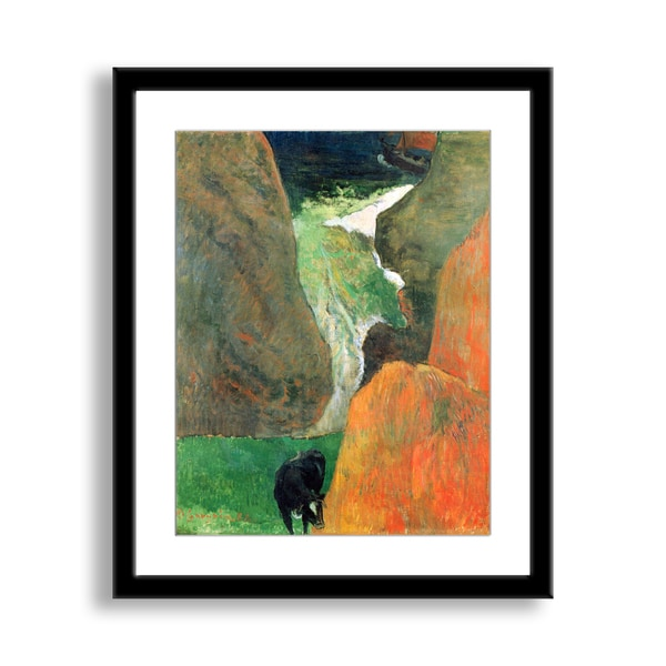 Paul Gauguin's 'Seascape with Cow on the Edge of a Cliff' Framed Paper Art