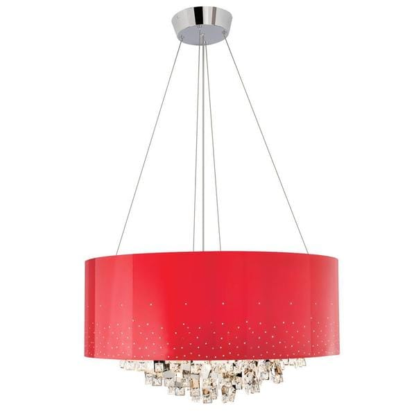Kichler Lighting Vallo Collection Contemporary 10-light Chrome and Red Chandelier