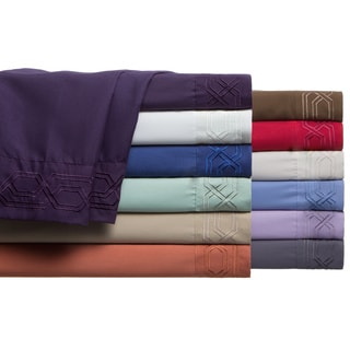 Ultra Soft Solid Geometric Embroidered Deep Pocket Double Side Brushed Sheet Set