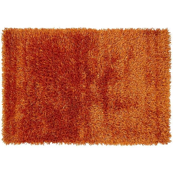 Modern Orange Ribbon Shag Rug (5' x 7')