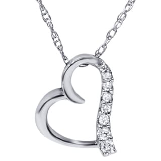 Bliss 14k White Gold Diamond Accent Heart Necklace