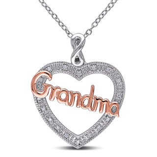Haylee Jewels Two-tone Silver Diamond Accent 'Grandma' Heart Infinity Necklace