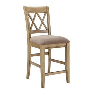 Signature Design by Ashley Mestler 24-inch Upholstered Antique White Bar Stool (Set of 2)