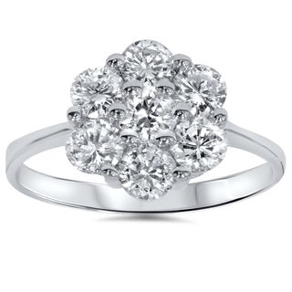 Bliss 14k White Gold 1 1/2ct TDW Cluster Diamond Ring (H-I, I2-I3)