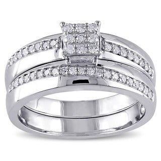 Miadora Sterling Silver 1/3ct TDW Diamond Cluster Engagement Wedding Anniversary-style Bridal Ring Set (G-H, I2-I3)
