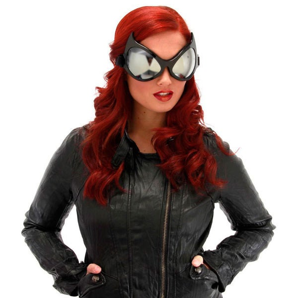 Cat Eye Black Frame Silver Lenses Goggles