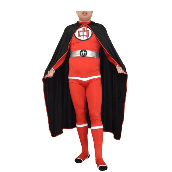 Adult Costume and Cape Red/ Black Body Suit