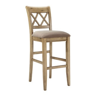 Signature Design by Ashley Mestler 30-inch Upholstered Antique White Bar Stool (Set of 2)
