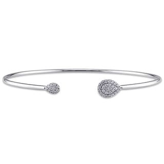Shira Design 14k White Gold 1/5ct TDW Diamond Halo Cuff Bangle (G-H, SI1-SI2)