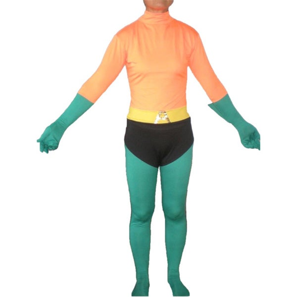 Adult Orange/ Green Lycra Body Suit Costume