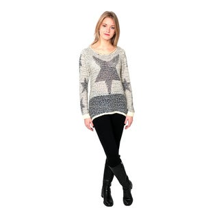 Nancy Yang Women's Fashion Stars Pattern Long Sleeve Sweater