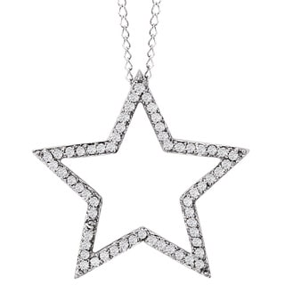 Avanti 14k White Gold 1/4ct TDW Diamond Star Necklace (G-H, I1-I2)