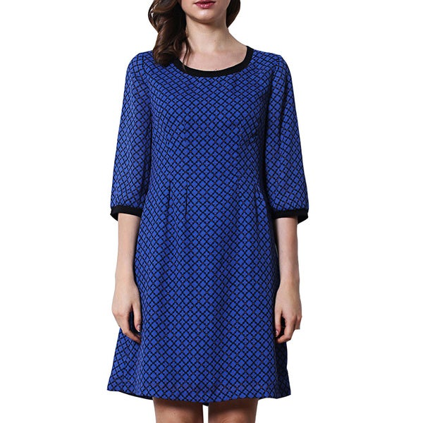 Women's Night Sky Blue Scoop Neck Dress