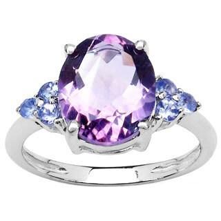 Malaika Sterling Silver Amethyst Tanzanite Ring