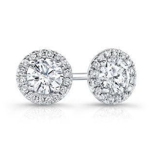 14k White Gold 3/4ct TDW Center Diamond Halo Stud Earrings (H-I, I1-I2)