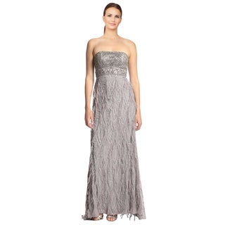 Sue Wong Platinum Embellished Ostrich Feather Strapless Evening Dress
