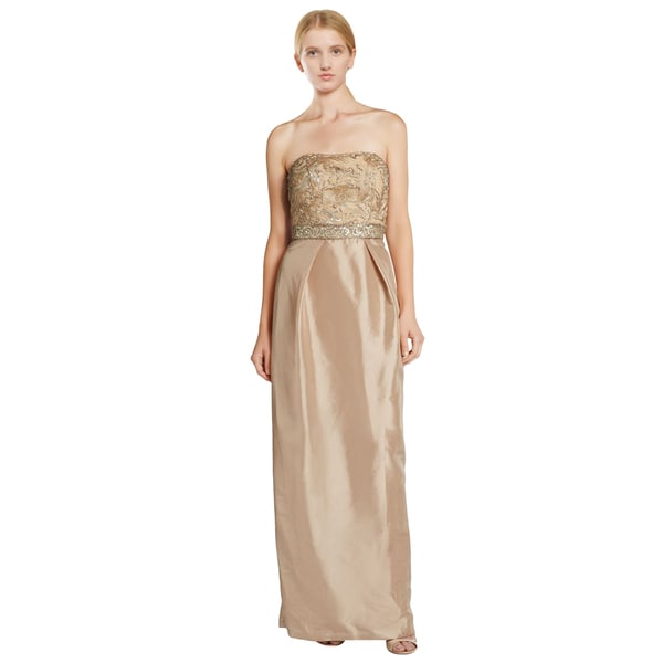 Sue Wong Beige Strapless Embellished Sequin Organza Evening Dress