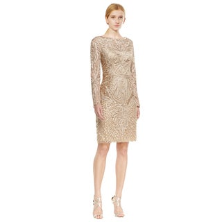 Sue Wong Beige Long Sleeve Embroidered Beaded Sheath Cocktail Dress