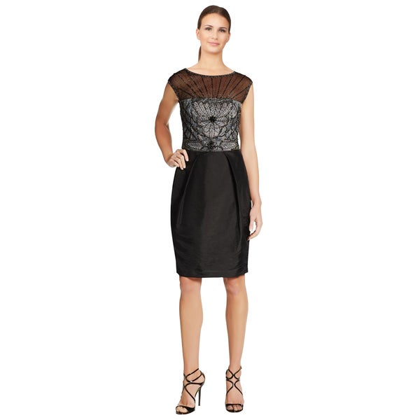 Sue Wong Black Beaded Embroidered Illusion Top Cocktail Dress