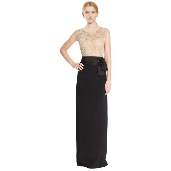 Teri Jon Black Silk Beaded Taffeta Long Evening Gown