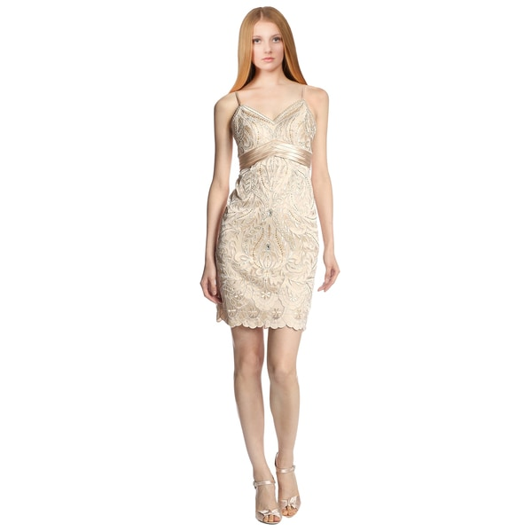 Sue Wong Beige Embroidered Satin Sheath Cocktail Dress