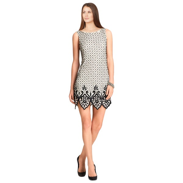 Alice and Olivia Black Dot Embellished Sleeveless Cocktail Dress