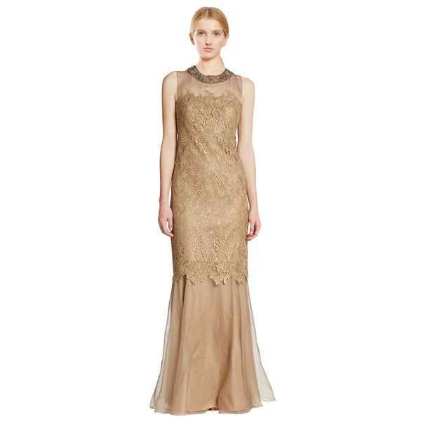 Teri Jon Gold Metallic Lace Jeweled Illusion Evening Dress