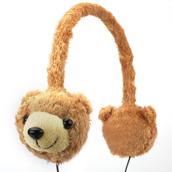 Groove Pal KDZ Kid Friendly Brown Bear Headphones with Volume Limiting Sound by Gogroove 14898688