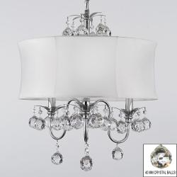 Modern Contemporary White Drum Shade & Crystal Ceiling Chandelier Lighting Pendant Lighting With Faceted Crystal Balls