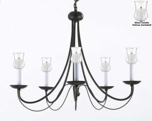 Empress Crystal Chandelier Lighting With Candle Votives H22.5 x W26