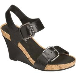 Women's Aerosoles Mega Plush Wedge Sandal Black Faux Leather