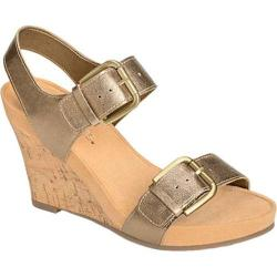 Women's Aerosoles Mega Plush Wedge Sandal Brass Bronze Faux Leather