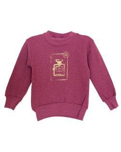 Girl's Couture Burgundy Graphic Fleece Pullover Sweatshirt