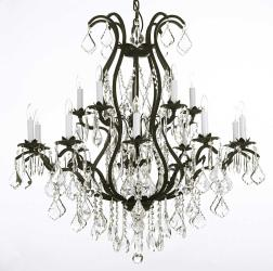 Austrian Crystal Trimmed Chandelier! Wrought Iron Chandelier Lighting