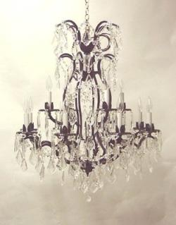 Wrought Iron Crystal Chandelier Lighting H36 x W28