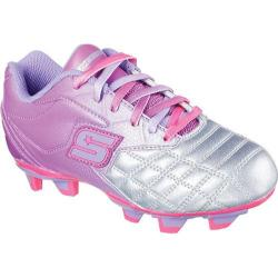 Girls' Skechers Teamsterz Tricky Kicks Soccer Cleat Gun Metal/Purple