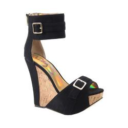Women's Luichiny More N More Wedge Sandal Black Imi Suede