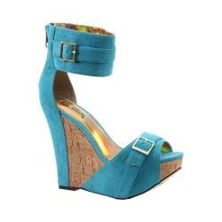 Women's Luichiny More N More Wedge Sandal Teal Imi Suede