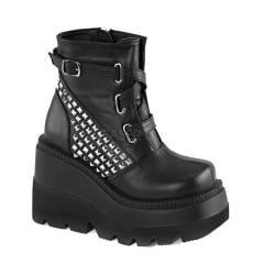 Women's Demonia Shaker 50 Platform Ankle Boot Black Vegan Leather