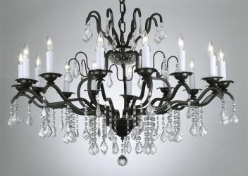 Austrian Crystal Trimmed Chandelier! Wrought Iron Crystal Chandelier
